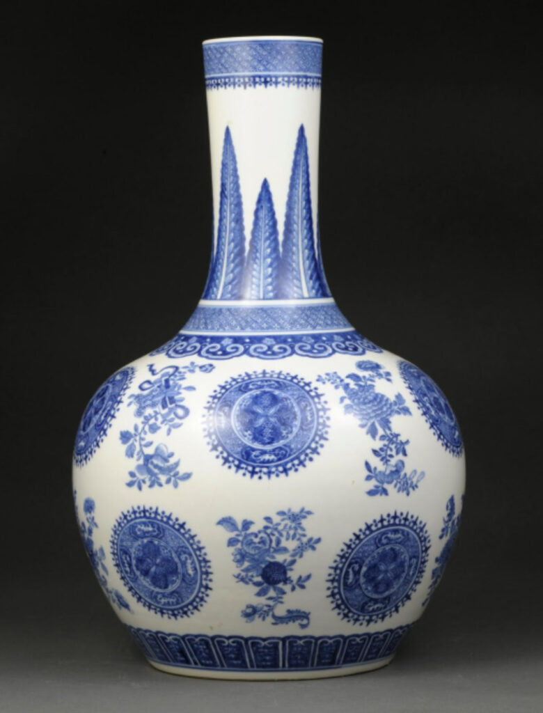 The U-M Museum of Art now has among its collection of Chinese ceramics this blue and white porcelain vase from the Qing Dynasty of the 18th century, thanks to a gift by supporter William Weese.