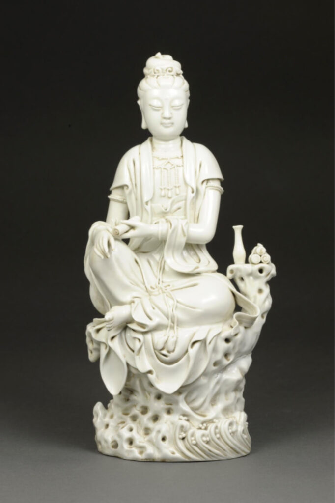 This porcelain statue from the Qing Dynasty of the 18th century is part of the collection given to the U-M Museum of Art by longtime supporter William Weese.