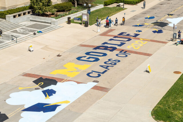 Overhead view of the finished mural.