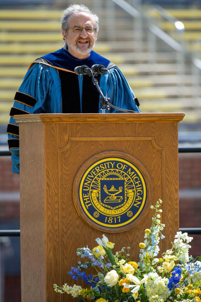 President Mark Schlissel welcomed graduates gathered at Michigan Stadium.