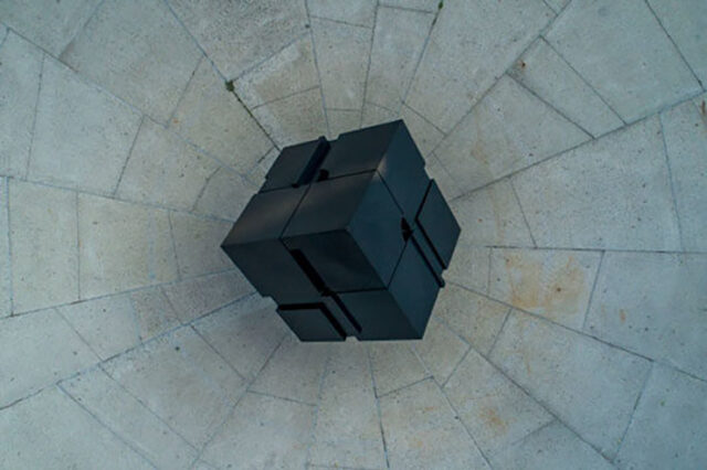 Ariel photo of The Cube taken from a drone camera. (Photo by Roger Hart, Michigan Photography)