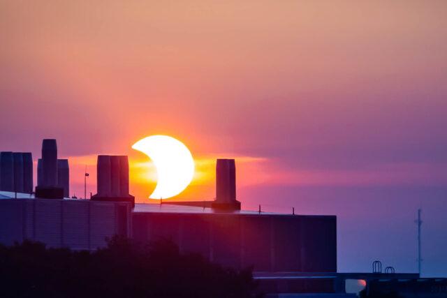 Photo of a partial solar eclipse June 10, 2021.