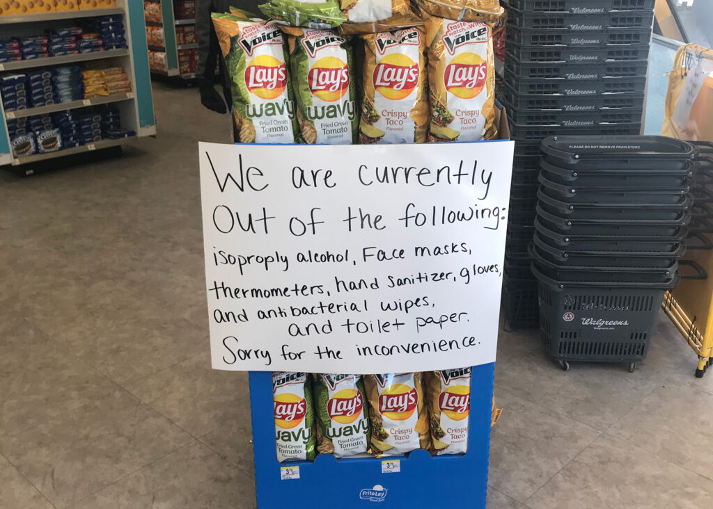 A Walgreens in Ann Arbor informed customers of items out of stock March 13, 2020. (Photo by Maxwell Barnes)