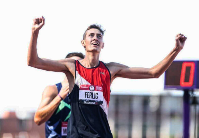 U-M graduate student Mason Ferlic qualifies for the Olympic Games in Eugene, Oregon.