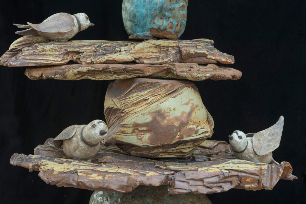 Detail of a sculpture that is part of the Garden of Earthy Delights exhibit