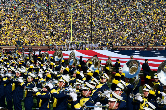 Photo of the Michigan Marching Band during their halftime show on September 7, 2019.
