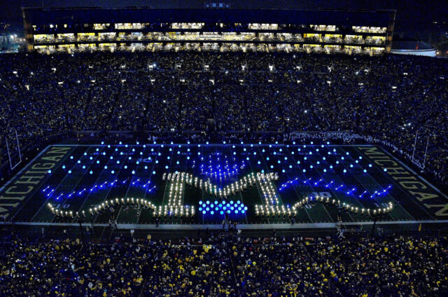 Photo from the Michigan Marching Band's halftime performance on Oct. 11, 2014, during a night game against Penn State.