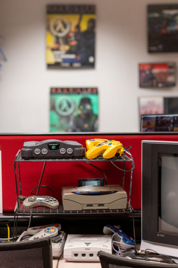 A corner of nostalgic video games in the Video Game Archive features such platforms as the Nintendo 64, Sega Genesis and Sega Dreamcast. (Eric Bronson, Michigan Photography)