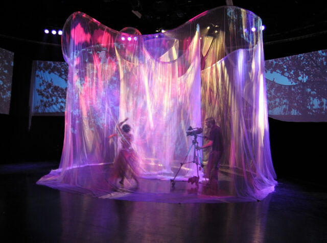 Student Will Stanton's video shoot thesis project included spiral-shaped netting, which gave the piece an ethereal feel. (Photo by Kathi Reister, Duderstadt Center)