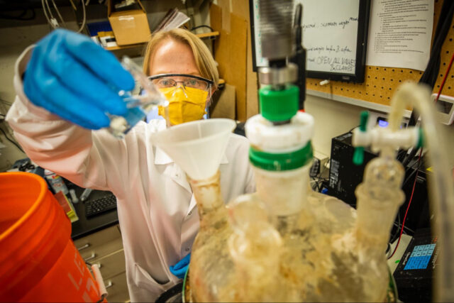 U-M researchers, including graduate research assistant Renata Rae Strarostka, are working on a new biodigester that converts organic solid waste from trash and wastewater into renewable methane. (Photo by Robert Coelius, College of Engineering)