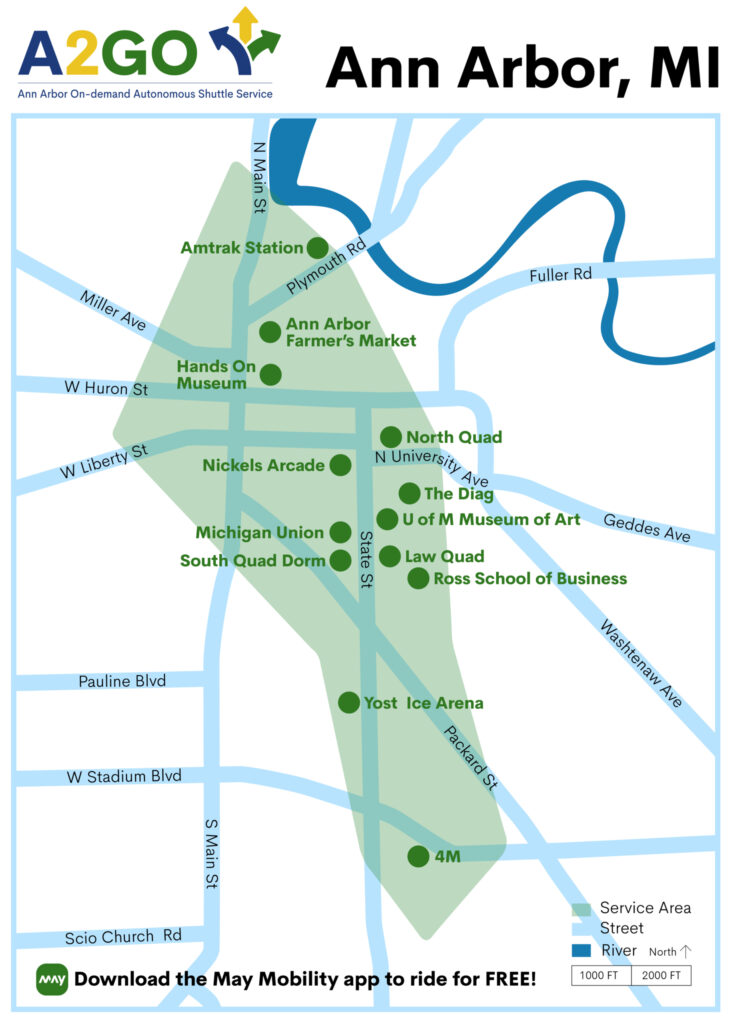 Map of A2GO service area in Ann Arbor