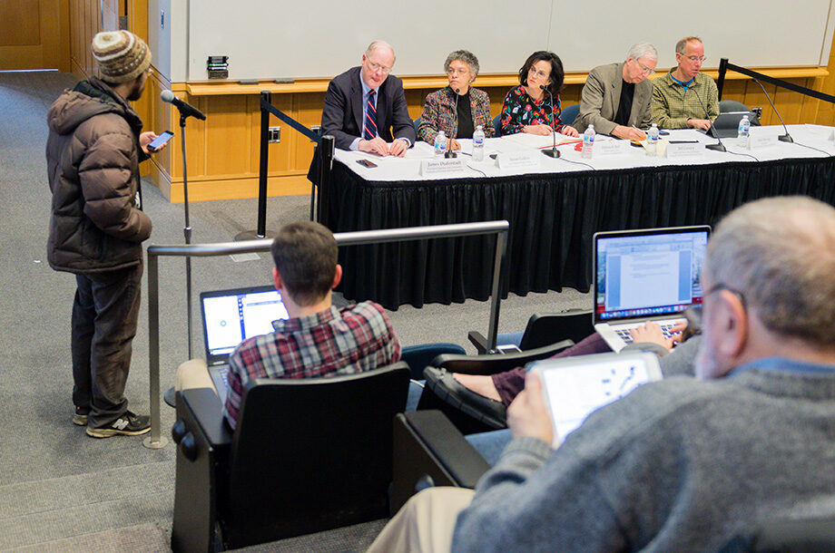 Photo of Jared Eno addressing the faculty panel