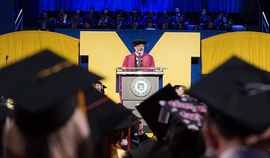 Photo of Provost Martin Philbert at 2018 Winter Commencement