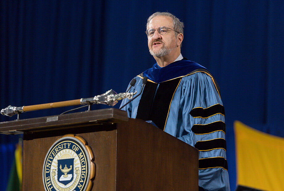 Photo of President Mark Schlissel at 2018 Winter Commencement