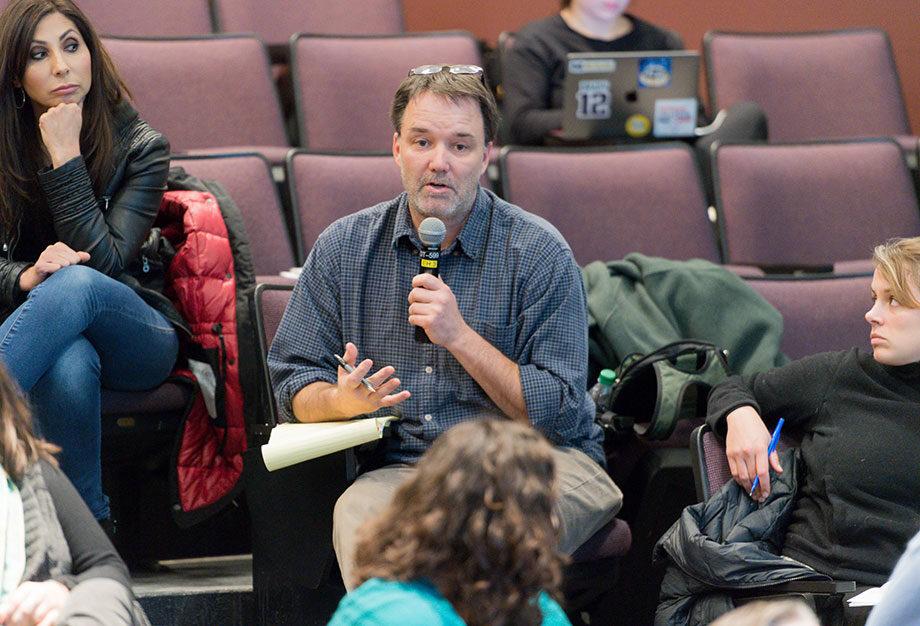 Photo Matthew Lassiter speaking at Wednesday's town hall