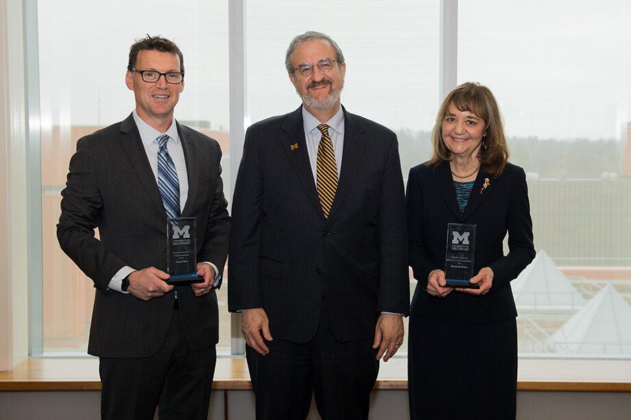 Photo of Joseph Ryan, President Mark Schlissel and Rosina Bierbaum