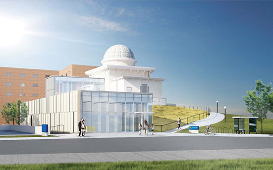 An artist's rendering of the addition at the Detroit Observatory