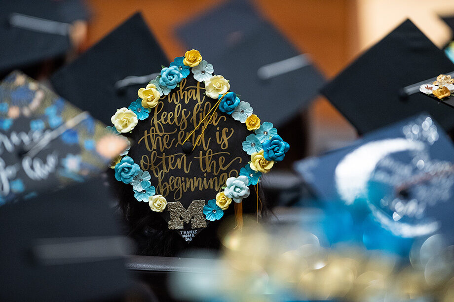 Photo of a grad cap at the Asian-Pacific Islanders ceremony