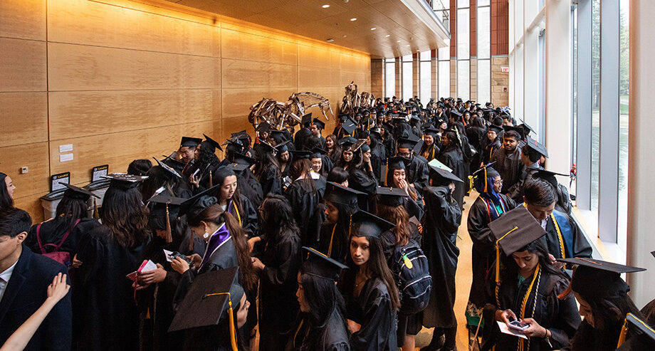 Photo of students in the hall outside the Asian-Pacific Islander ceremony