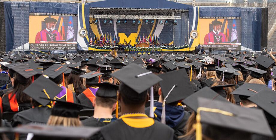 Photo of a sea of graduation caps