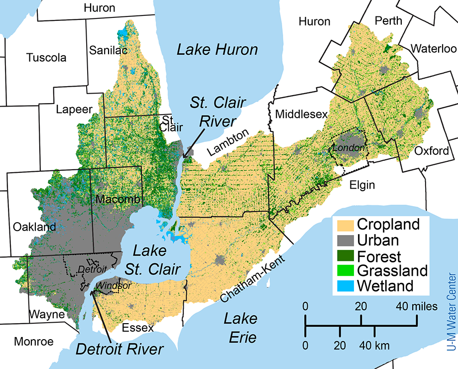 Land use map of Detroit River watershed