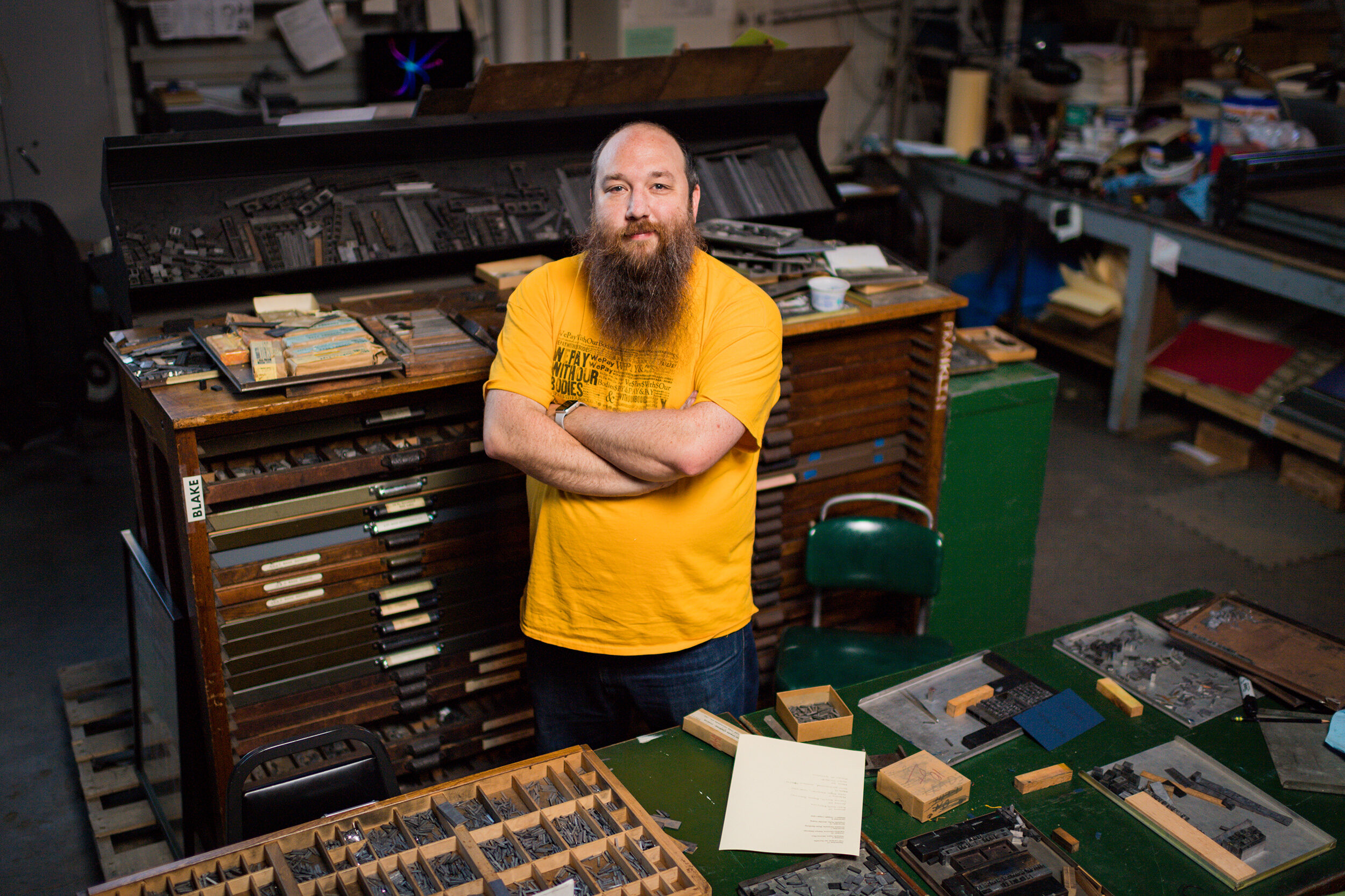 Lecturer revisits English language through traditional printing |  The University Record