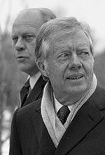Former presidents Jimmy Carter and Gerald R. Ford spoke at a Feb. 9, 1983, domestic policy seminar at the Ford Presidential Library.