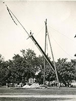 A flagpole from the 1893 World's Columbian Exposition is Chicago was installed on the Diag on June 23, 1898.