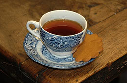 Photo of tea and cookies for Attend at Home feature