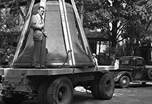 On Sept. 17, 1936, carillon bells for the new Burton Memorial Tower arrived on campus.