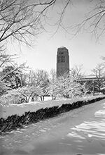 On March 23, 1956, three days into spring, 7 inches of snow blanketed campus. Read about some of the other things that happened in U-M history during the week of March 22-28.