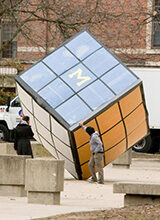 On April 1, 2008, the Cube took on a look similar to that of a Rubik's Cube. Read about some of the other things that happened in U-M history during the week of March 29-April 3.