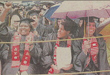Rain couldn't dampen the May 3, 1997, celebration of graduates at commencement in Michigan Stadium. Read about some of the other things that happened in U-M history during the week of May 3-9.