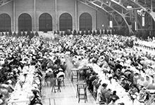 The university celebrated its centennial in Ann Arbor with a June 14, 1937, community dinner at the Intramural Building.